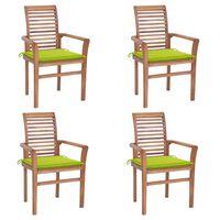 vidaXL spisebordsstole 4 stk. med lysegrønne hynder massivt teaktræ