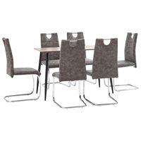 vidaXL spisebordssæt 5 dele kunstlæder brun