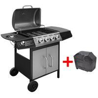 vidaXL gasgrill 4 + 1 grillzoner sort og sølvfarvet