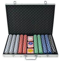 vidaXL pokersæt med 1.000 jetoner aluminium
