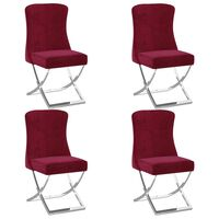 vidaXL spisebordsstole 4 stk. 53x52x98 cm fløjl vinrød