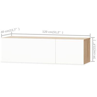 vidaXL TV-skab spånplade 120 x 40 x 34 cm højglans hvid og eg