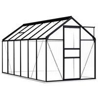 vidaXL drivhus med fundamentramme 7,03 m² aluminium antracitgrå