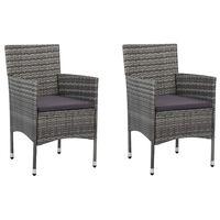 vidaXL spisebordsstole til haven 2 stk. polyrattan grå