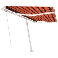 vidaXL markise m. LED-lys 450x300 cm manuel betjening orange og brun