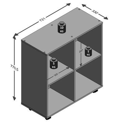 FMD reol med drejehjul og 4 rum hvid