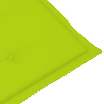 vidaXL havestole 4 stk. med lysegrønne hynder massivt teaktræ