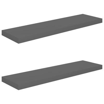 vidaXL svævehylder 2 stk. 90x23,5x3,8 cm MDF grå højglans