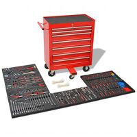 vidaXL værktøjsvogn med 1125 stykker værktøj stål rød