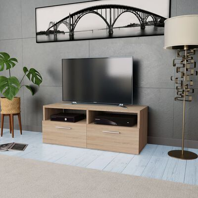 vidaXL TV-skab spånplade 95 x 35 x 36 cm egetræ