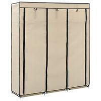 vidaXL klædeskab med rum og tøjstænger 150 x 45 x 175 cm stof creme