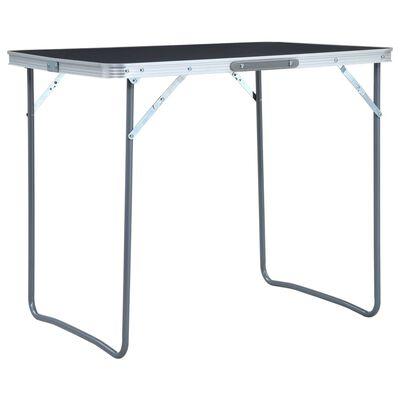 vidaXL foldbart campingbord med metalstel 80 x 60 cm grå