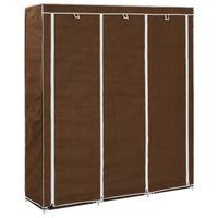vidaXL klædeskab med rum og tøjstang 150 x 45 x 175 cm stof brun