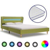 vidaXL seng med LED og madras i memoryskum 120 x 200 cm grøn stof
