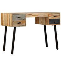 vidaXL skrivebord massivt genbrugsteak 110 x 50 x 76 cm