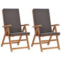 vidaXL havelænestole med hynder 2 stk. massivt teaktræ grå