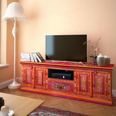 vidaXL TV-skab i massivt mangotræ lyserød håndmalet