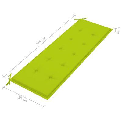 vidaXL havebænk med lysegrøn hynde 150 cm massivt teaktræ