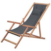 vidaXL foldbar strandstol stof og træstel grå