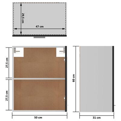 vidaXL vægskab 50x31x60 cm spånplade sort højglans