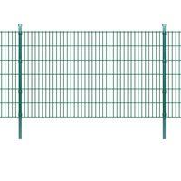vidaXL 2D paneler og pæle til havehegn, 2.008x1.230 mm, 20 m, grønne