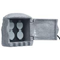 vidaXL udendørs stikdåse 4 udtag fjernbetjening polyresin grå