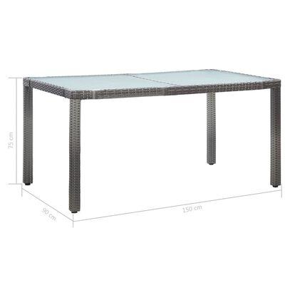 vidaXL havebord 150x90x75 cm polyrattan hvid