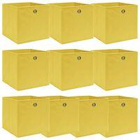 vidaXL opbevaringskasser 10 stk. 32x32x32 stof gul