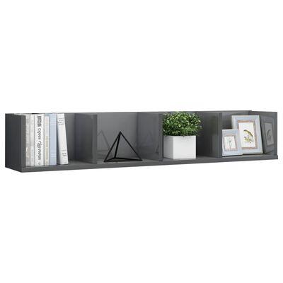 vidaXL CD-hylde 100 x 18 x 18 cm spånplade grå højglans