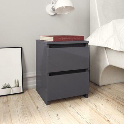 vidaXL sengeskabe 2 stk. 30 x 30 x 40 cm spånplade grå højglans
