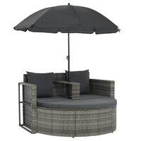 vidaXL 2-personers havesofa med hynder og parasol grå polyrattan