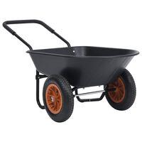 vidaXL trillebør 78 l 100 kg sort og orange