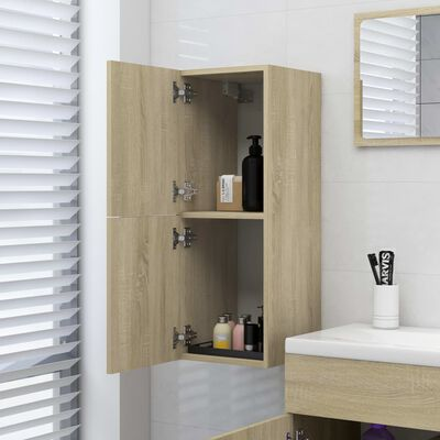 vidaXL badeværelsesskab 30x30x80 cm spånplade sonoma-eg