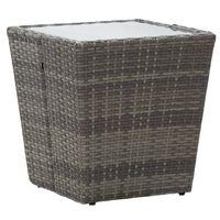 vidaXL tebord 41,5x41,5x43 cm hærdet glas og polyrattan grå