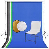 vidaXL fotostudieudstyr med fotobord, baggrund og reflektor