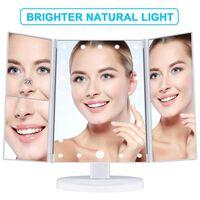 Makeup spejl med belysning og tre vinkler Hvid