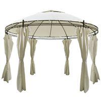 vidaXL rund pavillon med gardiner 3,5x2,7 m