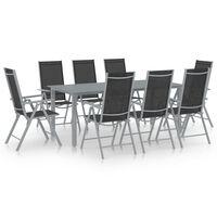 vidaXL spisebordssæt til haven 9 dele aluminium sølvfarvet og sort