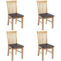 vidaXL spisebordsstole 4 stk. massivt egetræ og kunstlæder