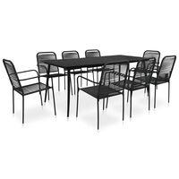 vidaXL udendørs spisebordssæt 9 dele bomuldstov og stål sort