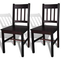 vidaXL spisebordsstole 2 stk. fyrretræ mørkebrun