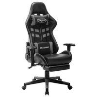 vidaXL gamingstol med fodstøtte kunstlæder sort og grå
