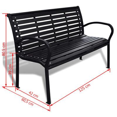 vidaXL havebænk 125 cm stål og WPC sort