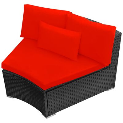 vidaXL haveloungesæt 13 dele med hynder polyrattan rød