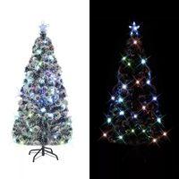 vidaXL kunstigt juletræ med fod og LED-lys 180 cm fiberoptisk