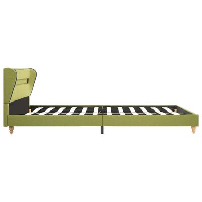 vidaXL seng med LED og madras i memoryskum 140 x 200 cm stof grøn
