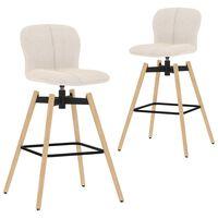 vidaXL drejelige barstole 2 stk. stof cremefarvet