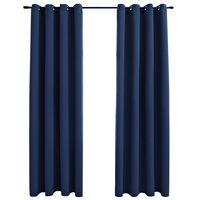 vidaXL mørklægningsgardiner 2 stk. med metalringe 140 x 175 cm blå