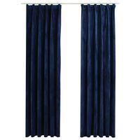 vidaXL mørklægningsgardiner kroge 2 stk. 140 x 225 cm fløjl mørkeblå