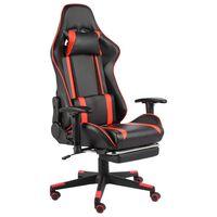 vidaXL drejelig gamingstol med fodstøtte PVC rød
